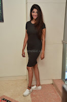 Priya Vadlamani super cute in tight brown dress at Stone Media Films production No 1 movie announcement 028.jpg