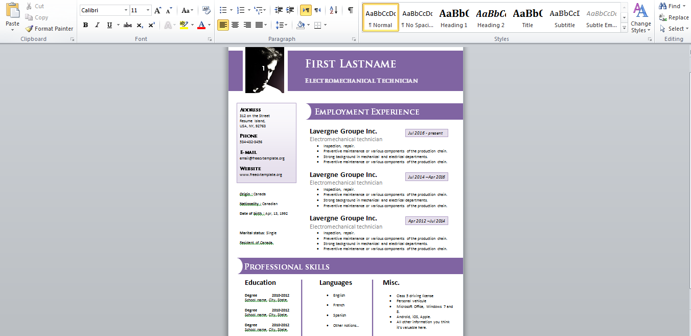 Standard And Simple Version Blank Cv Template In Word 2016