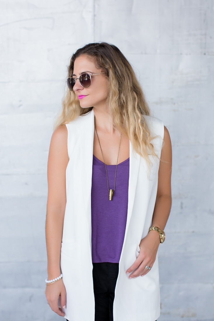 Bedazzles After Dark Outfit Post Sleeveless White Vest