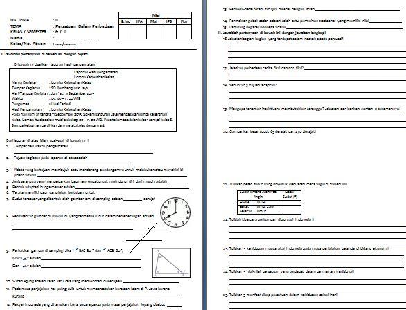 Download Contoh Soal Tematik SD Kelas VI Kurikulum 2013 Tema 2 Persatuan dalam Perbedaan Format Microsoft Word