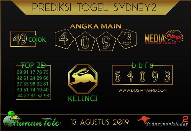 Prediksi Togel SYDNEY 2 TAMAN TOTO 13 AGUSTUS 2019