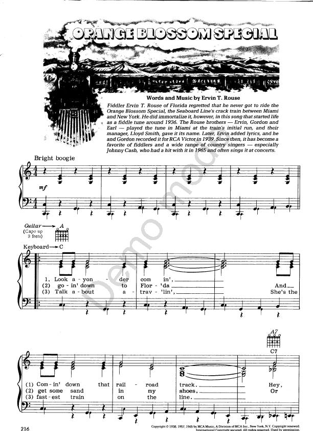 All Music Chords Orange Blossom Special Sheet Music Orange Blossom