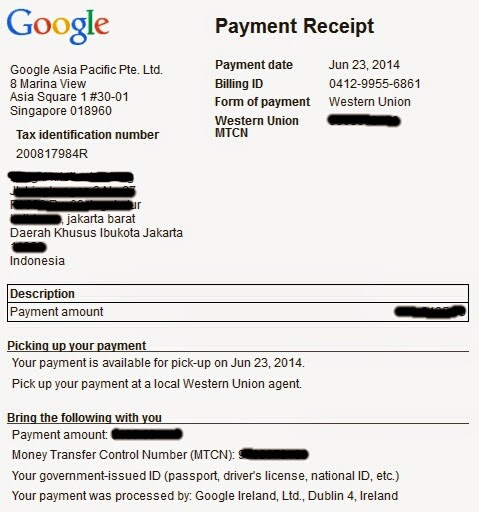Payment U$100 Google Adsense