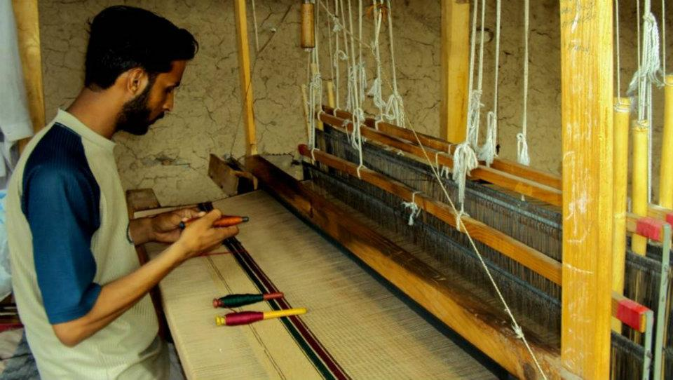 Shawls weaving at Islampur Village near Saidu Sharif,Swat Pakistan