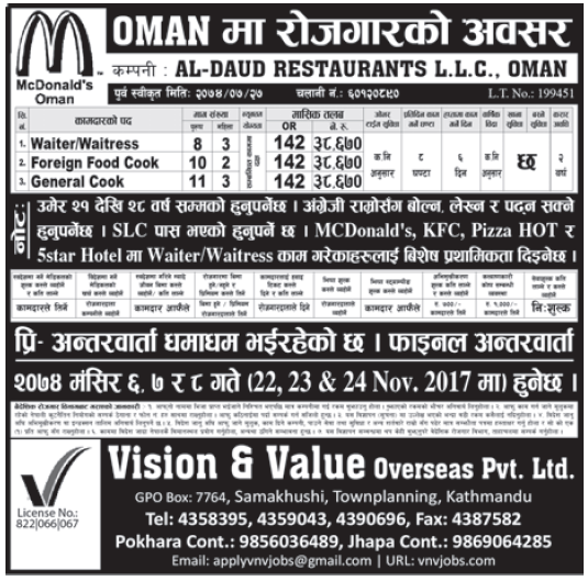 Jobs in OMAN for Nepali, Salary Rs 38,670