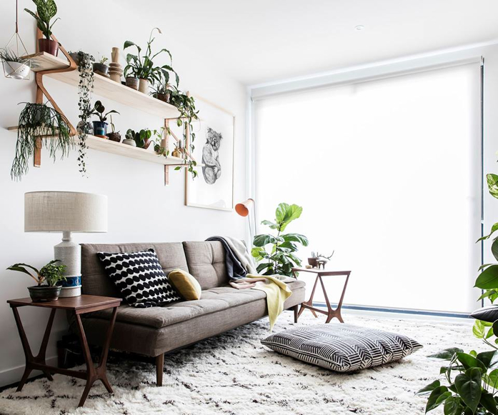 Bright Neutral Living Room with Plant Pop