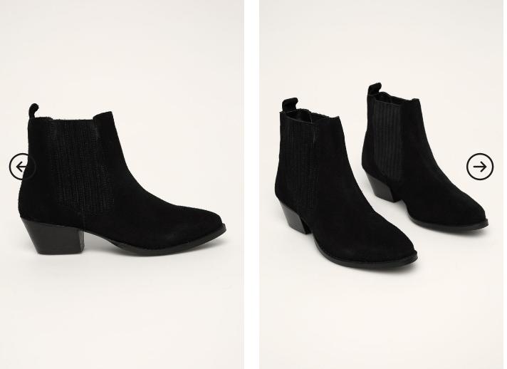 Answear - Botine de piele negre cu toc gros mediu