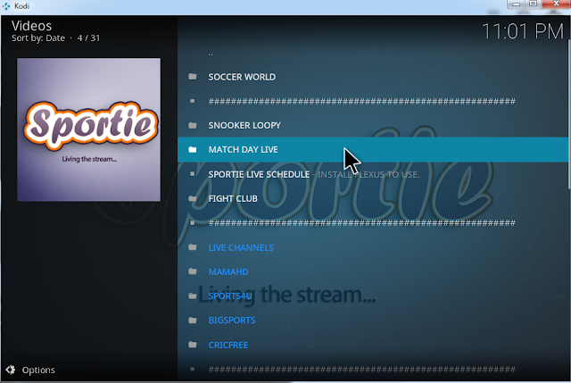 Watch Football online with sportie kodi addon