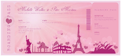 Invitación Novedosa para tu Boda estilo Ticket color Rosa