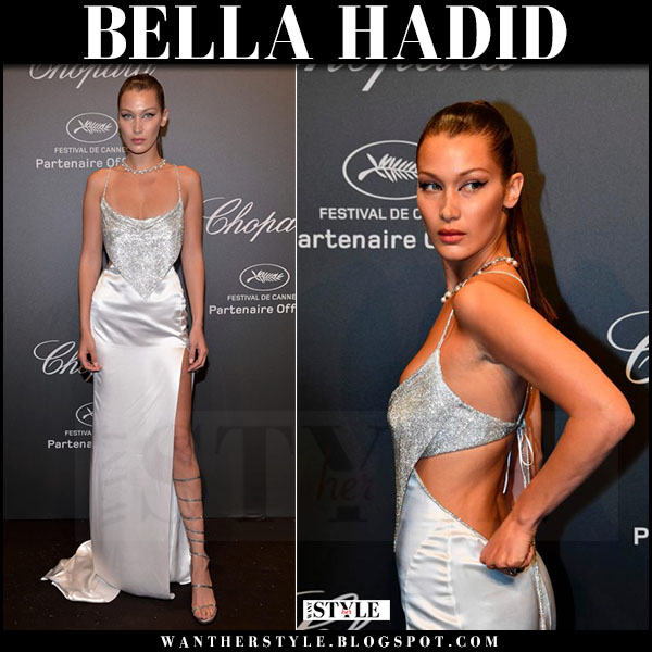 Bella Hadid in silver satin gown roberto cavalli at Chopard party Cannes may 29 2017 what she wore