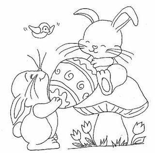 Tranh tô màu hai chú thỏ và cây nấm