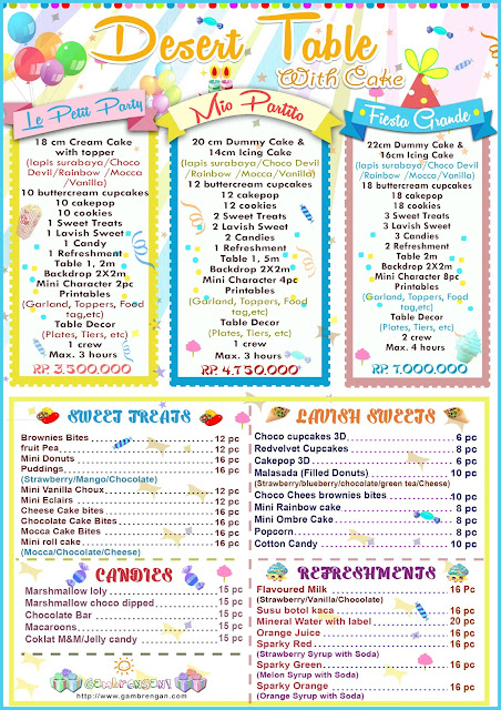 Dessert Table Pricelist A Badut Jakarta Kids Event
