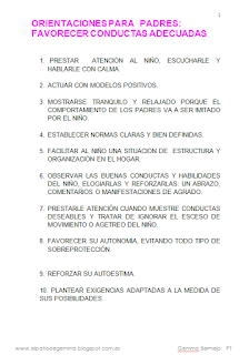 FAVORECER CONDUCTAS ADECUADAS. ORIENTACIONES PARA PADRES