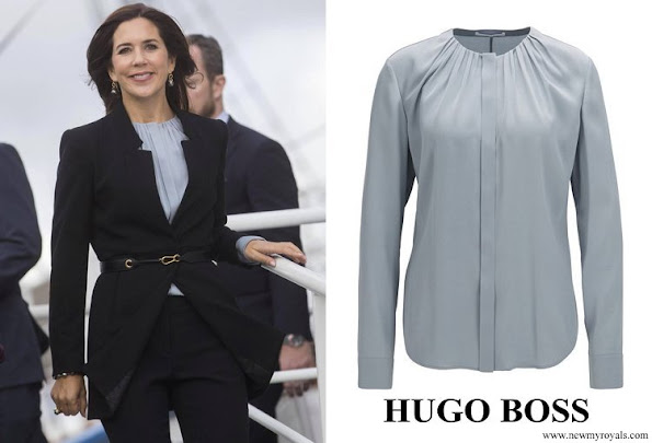 Crown Princess Mary wore Hugo Boss Banora Silk blend blouse