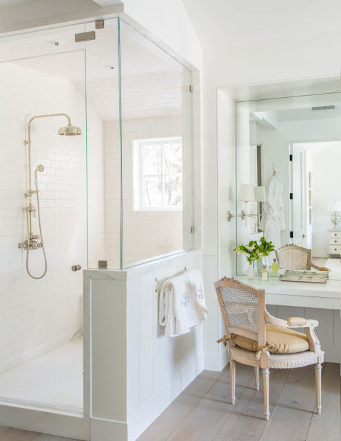 Modern farmhouse luxurious elegant bathroom California renovation Giannetti