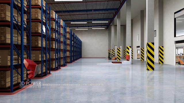 3D Interior Design Rendering of Warehouse