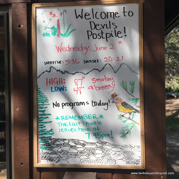 welcome sign at ranger station cabin at Devils Postpile National Monument in Mammoth Lakes, California