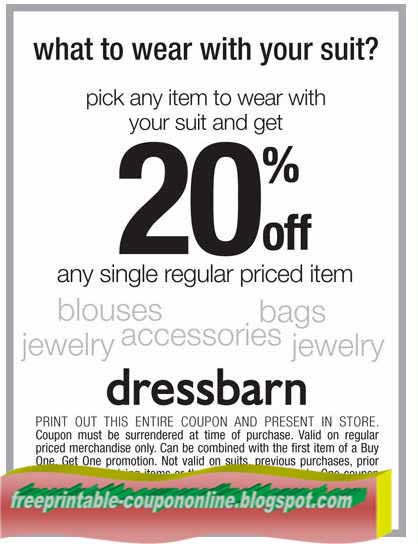 Dress barn coupons in store printable