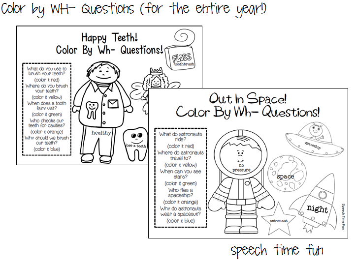 Speech Time Fun: Color by WH Questions! (for the entire year!)