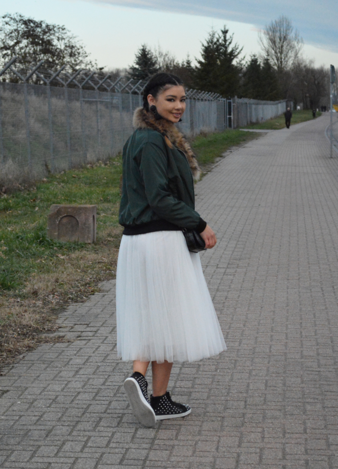 khaki bomber jacket, bomber jacket, wholesale7 bomber jacket, charlotte russe crop top, tulle kirt, oasap, fashion mesh layered maxi skirt, midi skirt, queen's wardrobe, faux fur scarf, fur scarf, sugar sneakers, studded sneakers, hm tassel earrings