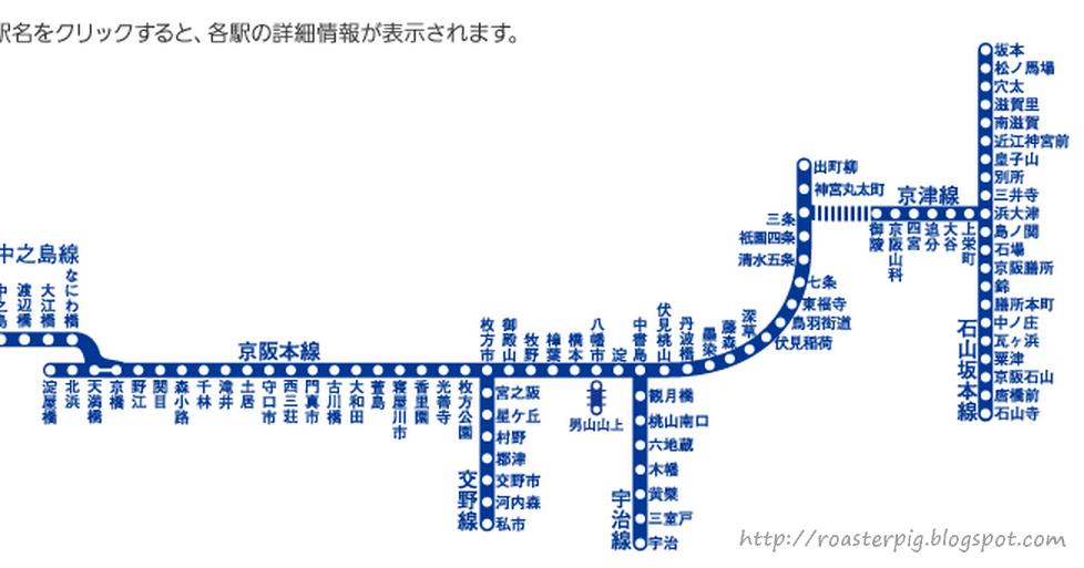 京阪電車路線圖+列車停車站圖 - 花小錢去旅行