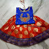 Orange and Blue Work Lehenga