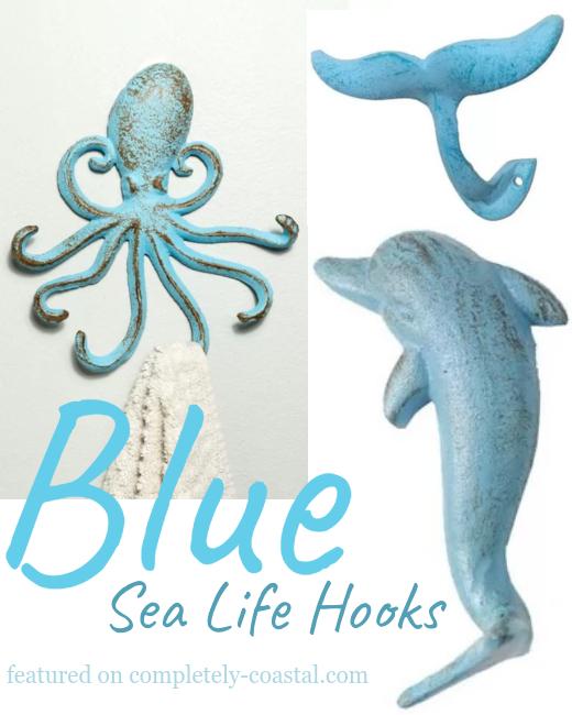 Blue Coastal Sea Life Wall Hooks