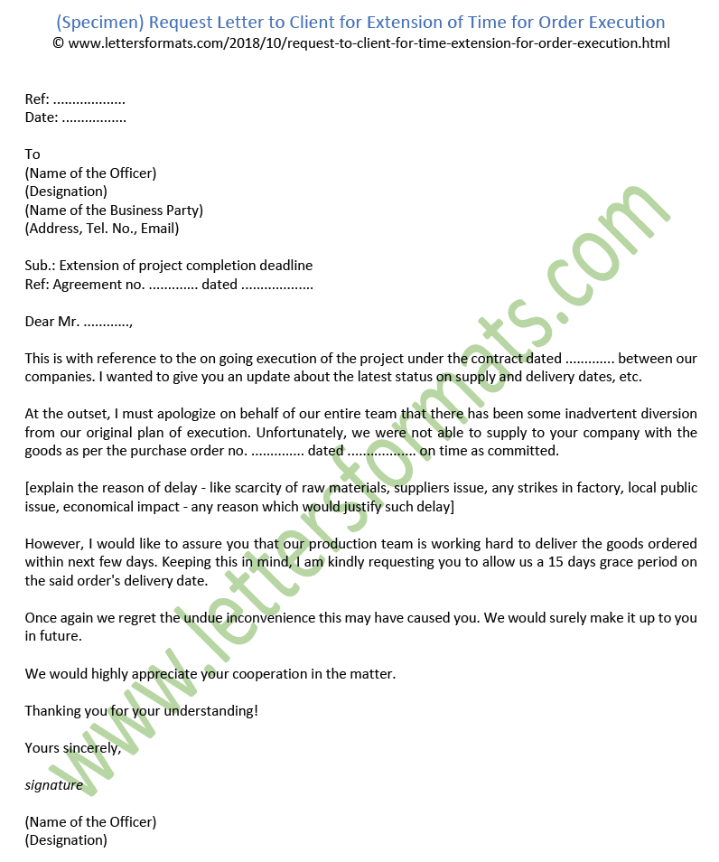 Request Letter to Client for Extension of Time for Order Execution