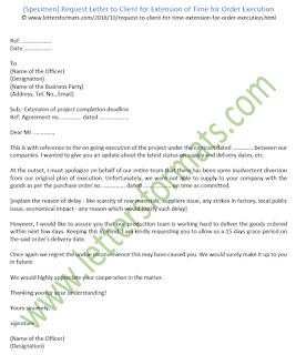 Request Letter to Client for Extension of Time for Order Execution (Sample)