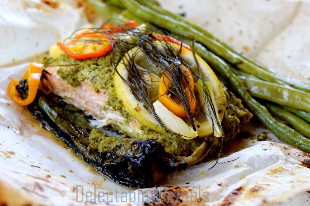Salmon en Papillote baked packet chimichurri sauce mint fennel peppers