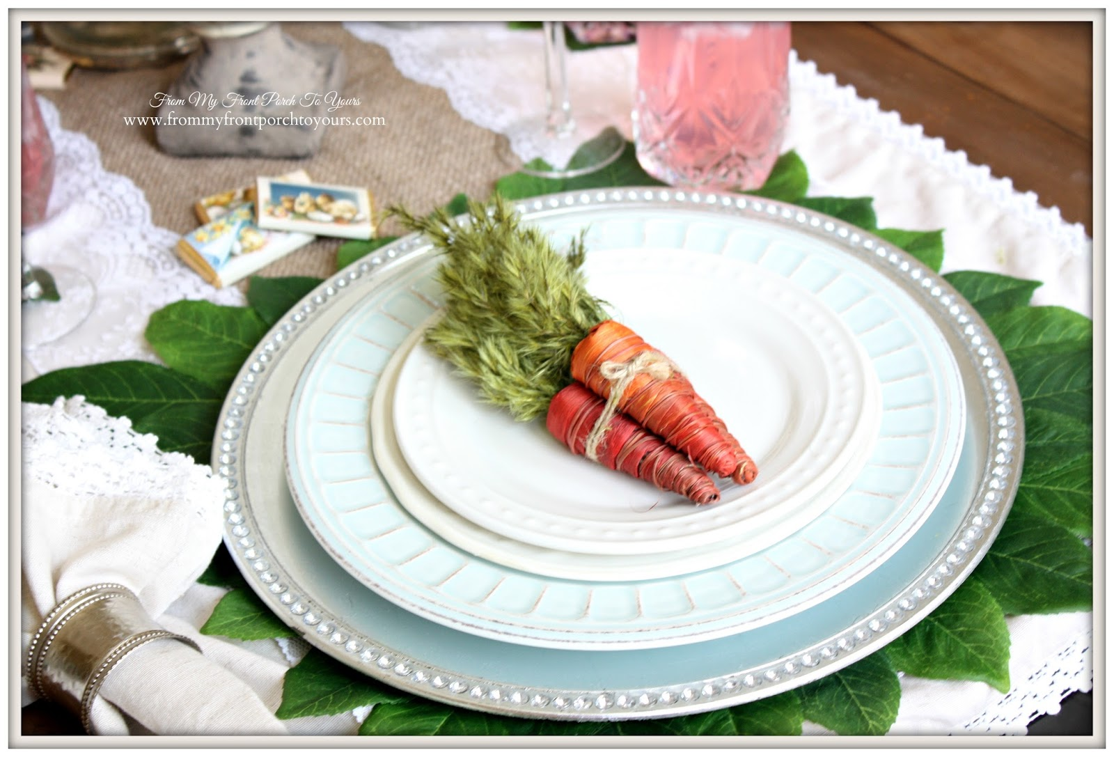Easter Place Setting With Carrots-French Farmhouse Easter Dining Room- From My Front Porch To Yours