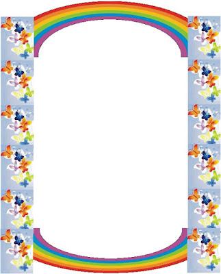 bordes animados para niñas, margenes para niñas, margenes con arcoiris, margenes de mariposas