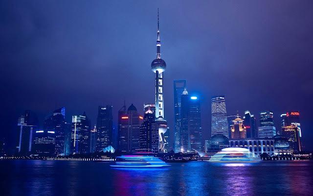 Foto van Hong Kong bij nacht