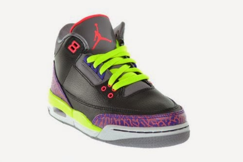 d8255a85c912cc Girls Air Jordan 3 Retro Big Kids Sneakers Black Atomic Red-Cement Grey- Violet