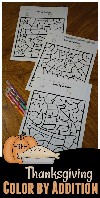 Thanksgiving Color by Number free -  fun way for kids to practice addition. Color by number addition is a  with a fun free worksheets for kindergarten, free worksheet preschool, free worksheet printable for homeschool, math centers. (thanksgiving worksheets kindergarten)