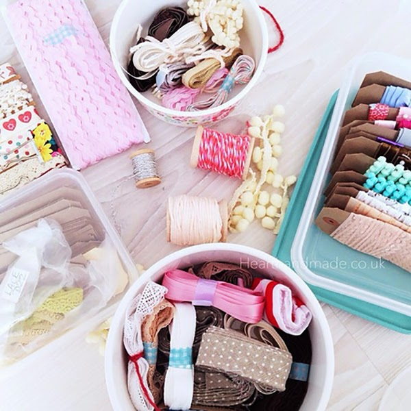 organising my ribbons and trims in Cath Kidston lunch boxes and tupperware - Fabric and ribbon storage that would be suitable for a craft room or sewing room. 24 Amazing Storage Ideas That You Will Freakin' Love!