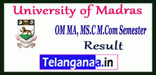 UNOM University of Madras MA M.Sc M.Com 1st 2nd 3rd 4th Semester Result
