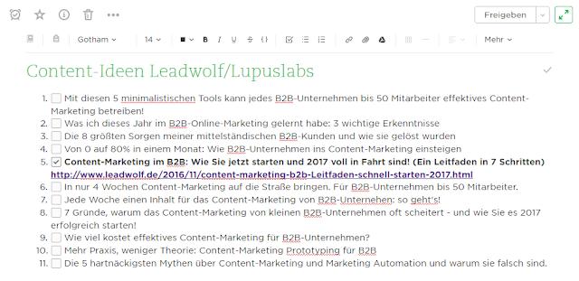 Content-Planung für Leads, Marketing-Automation im B2B mit Evernote