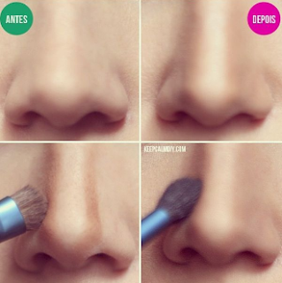So that your face looks increasingly tapered, you can apply the brush to the nose. So your nose will be sharp and slim