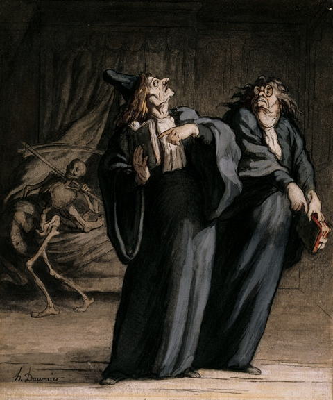 Honoré Daumier: Deux medecins et la mort - The Two Doctors and Death