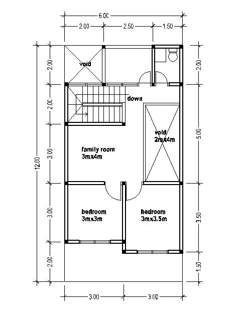 Small Two Story House Plans 6mx12m, Small 1 2 Story House Plans