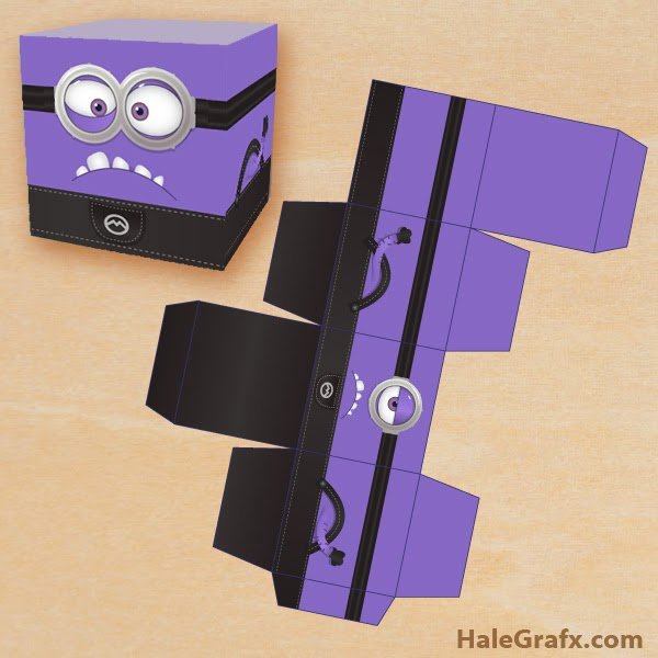 Minions: Caja para Imprimir Gratis.