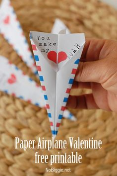 Paper Airplane Valentines, non-candy valentines, kids valentines, DIY valentines