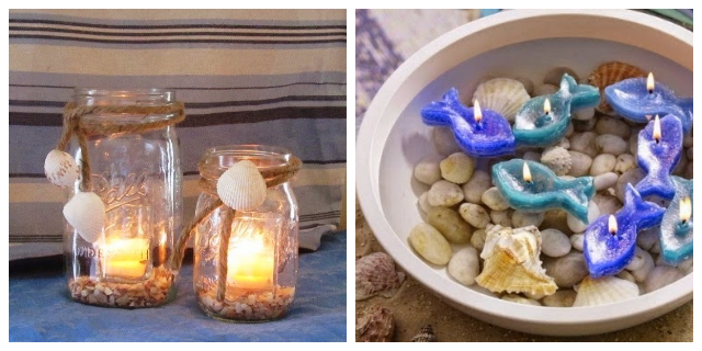 SEASHELLS & CANDLES CENTERPIECES IDEAS
