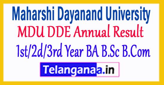 MDU DDE Annual Result 2018 1st/2d/3rd Year BA B.Sc B.Com