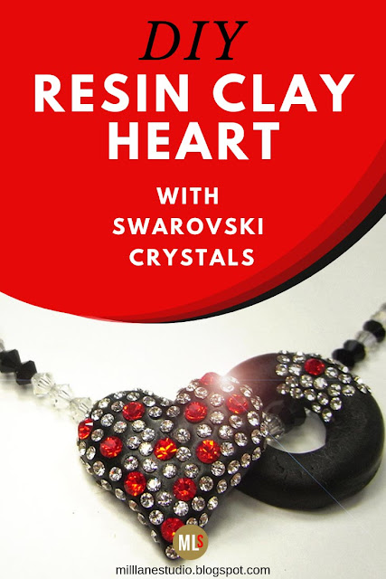 DIY Epoxy Resin Clay heart necklace studded with Swarovski crystals inspiration sheet