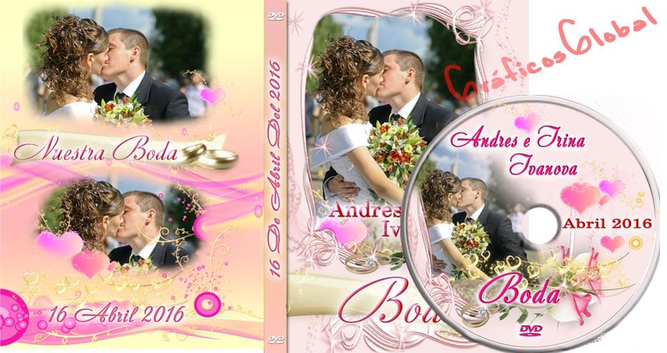 Plantilla para crear portada y etiqueta DVD - MATRIMONIO Diseño elegante
