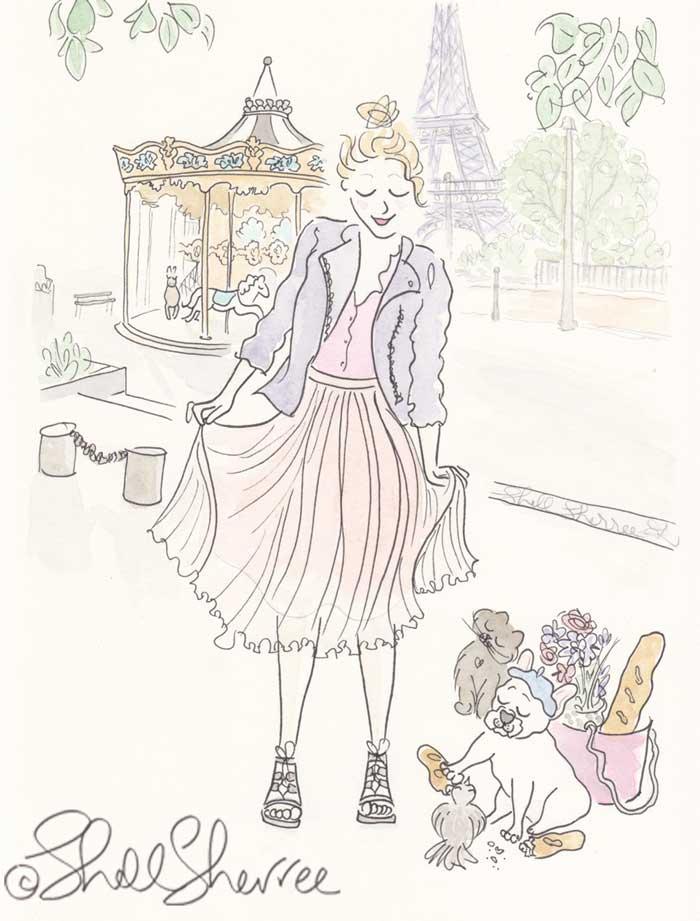 Paris Fashion and Fluffballs illustration: Carousel and French Bulldog Pigeon Feeding © Shell Sherree