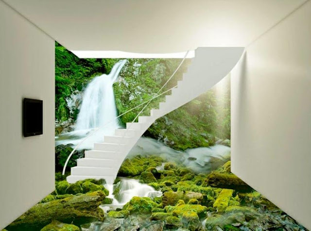 natural scenery 3d floor designs for bathroom