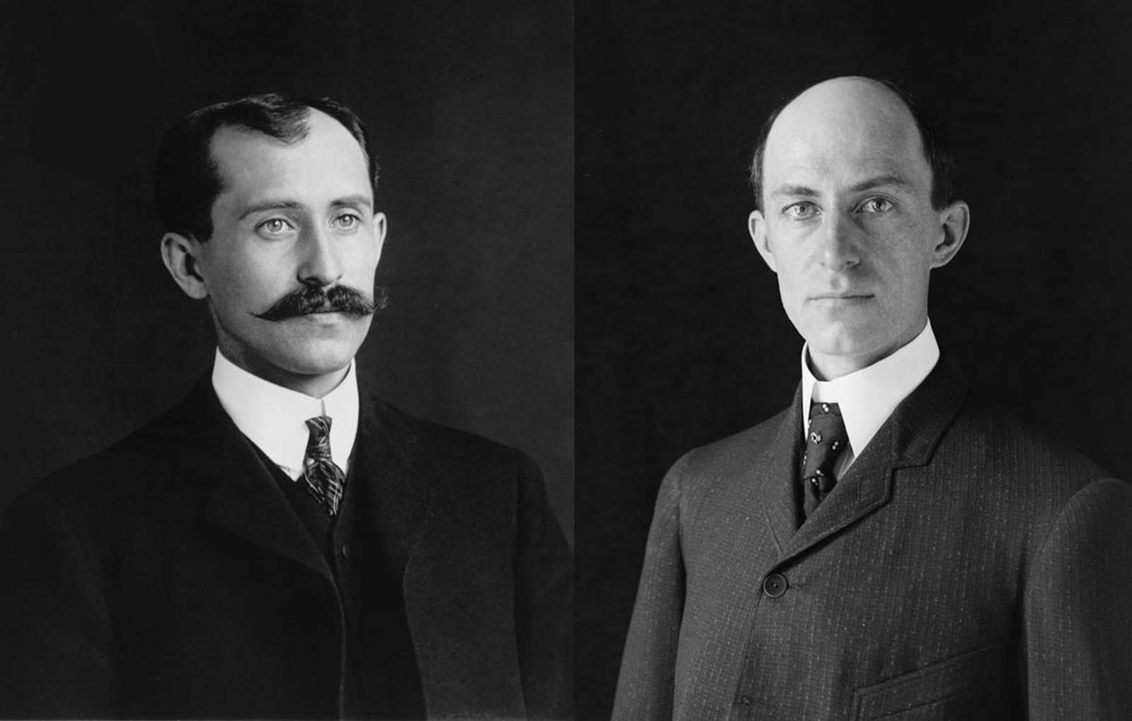 From left, Orville and Wilbur Wright, in portraits taken in 1905, when they were 34 and 38 years old.
